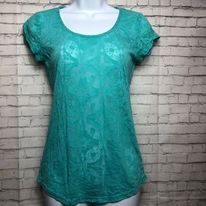 Anne Taylor turquoise sheer short sleeve top